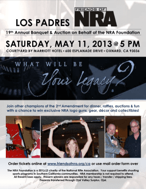 Event flyer & mail order form - Friends of NRA - friendsofnra