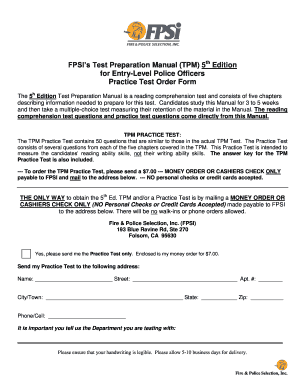Fillable Online TPM (Police 5th Ed ) Practice Test Order Form - Fire