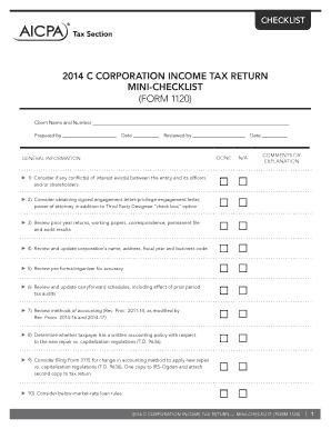 Fillable Online 2014 c corporation income tax return mini ...