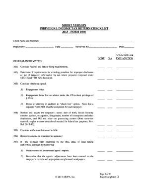 Individual Income Tax Return Checklist