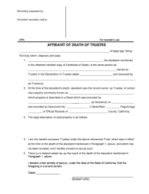 Fillable Online saclaw Form: Affidavit Death or Change of Trustee ...