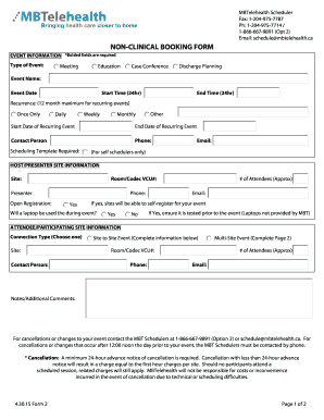 NON-CLINICAL BOOKING FORM - MBTelehealth - mbtelehealth