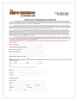 Printable repossession assignment form - Edit, Fill Out