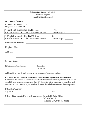 Fillable Online county milwaukee Gym membership claim form Fax ...