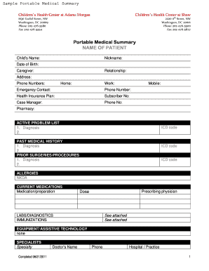 Fillable Online hscsnlearning Sample Portable Medical Summary Form ...