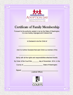 Fillable Online courts wa Certificate of Family Membership