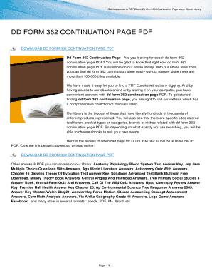Fillable Online comtsasl Dd Form 362 Continuation Page PDF Fax ...