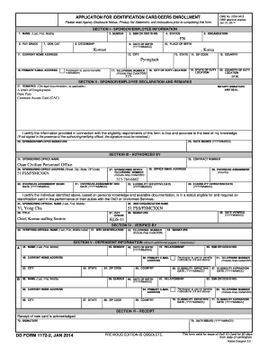 DD Form 1172-2, Application for Identification CardDEERS Enrollment, January 2014
