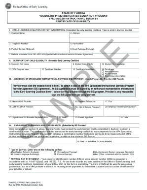 Fillable Online Form OEL-VPK 02S Part A Certificate of Eligibility