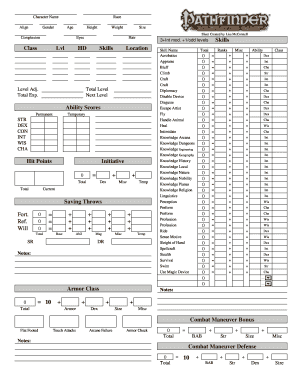 Decisive image inside printable pathfinder character sheet