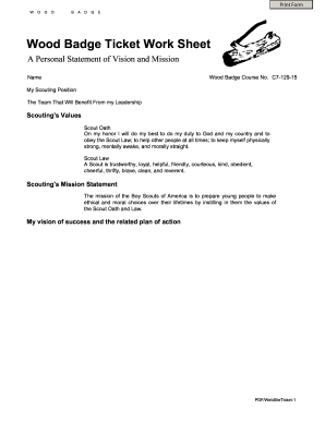 Fillable Online neic-woodbadge Ticket Worksheet - NEIC Wood Badge ...