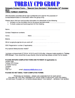 Delegate Contact Form:- Special Care Dentistry Wednesday 16 ... - bristol ac