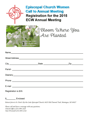 2015 Annual Meeting registration form.