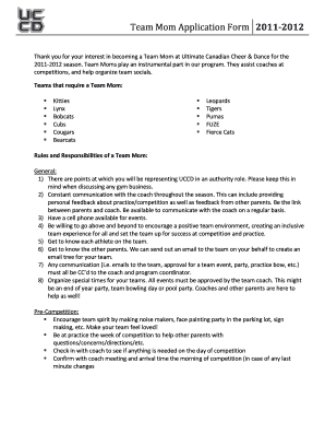 Fillable Online Team Mom Application Form Fax Email Print