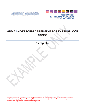 ARMA SHORT FORM AGREEMENT FOR THE SUPPLY OF GOODS