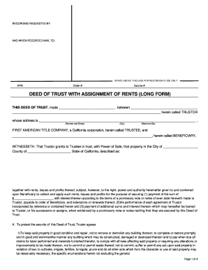 Deed of Trust with Assignment of Rents Long Form PDF