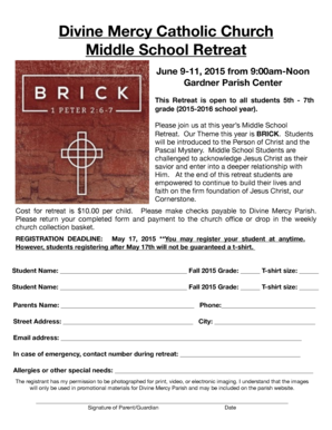 Middle School Registration Form - Brick - divinemercyks