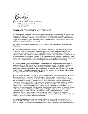 Contract for videography services - Godina Video Productions