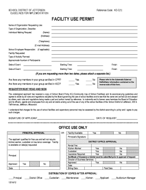 Fillable Online sdoj Facility Use Request Form - School