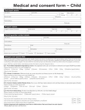 Fillable medical consent form for child - Edit Online, Print ...