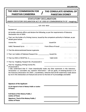 The consulate general of pakistan sydney statutory declaration the ...