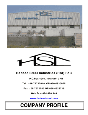 Fillable Online Hadeed Steel Industries (HSI) FZC Fax Email Print