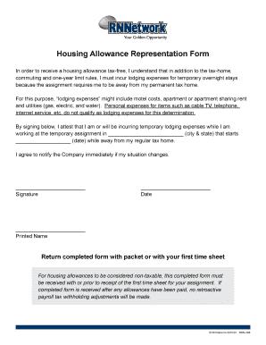 Fillable Online Housing Allowance Representation Form - CHG ...