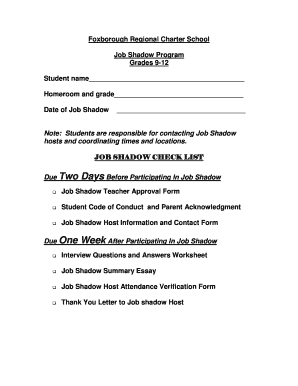 Fillable Online Job Shadow Packet - Foxborough Regional Charter