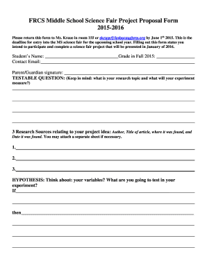 Proposal letter for project forms and templates fillable frcs middle school science fair project proposal form 2015 2016 altavistaventures Image collections