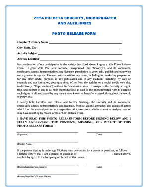 Photo Release Form - Zeta Phi Beta Sorority, Inc. - zphib1920