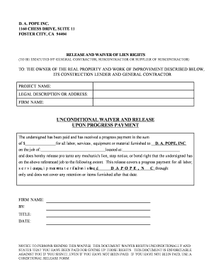 Editable waiver of lien by contractor subcontractors and
