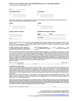 Fillable Online Florida Claim of Lien Notice for Towing and ...
