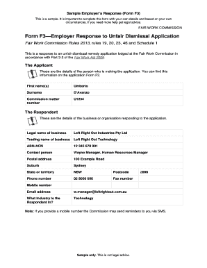 Fillable response letter to unfair dismissal edit online print form f3 employer response to unfair lawaccess nsw spiritdancerdesigns Choice Image