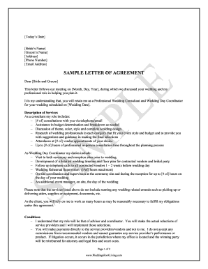 Fillable Online Sample Wedding Planner Contract Weddings