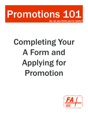 Completing Your A Form and Applying for Promotion - Faculty ...