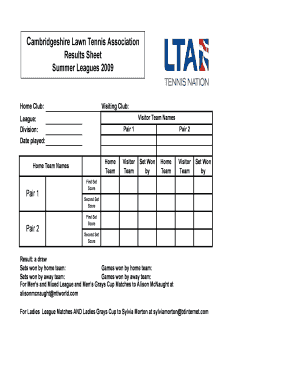 Lawn Tennis Score Sheet Pdf. Cambridgeshire Lawn Tennis Association