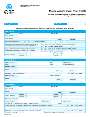 Fillable Online QBE Motor Vehicle Claim Form - TCIS ...