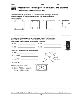 9 3 Properties Of Rectangles Rhombuses And Squares Answers ...
