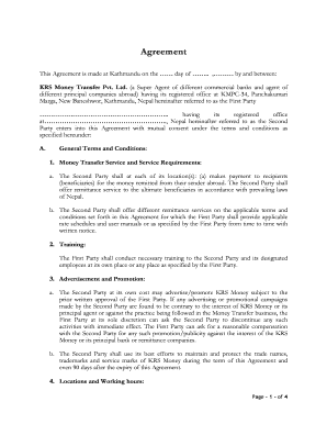 Template Agreement for Sub-Agent - KRS Money