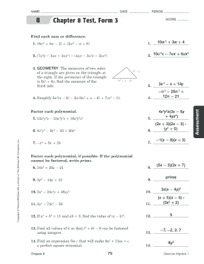Fillable Online Chapter 8 Test, Form 3 (continued) - Doral Academy ...