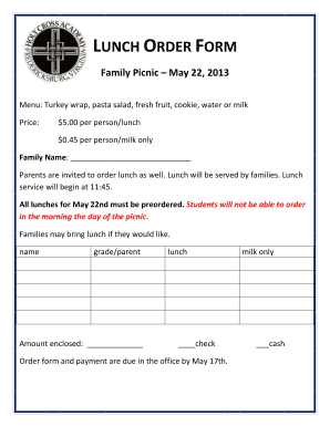 lunch order form  Fillable Online LUNCH ORDER FORM Family Picnic - Holy Cross ...