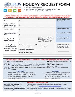Recruitment Request Form | Fillable Online Holiday Request Form Heads Recruitment Ltd Fax