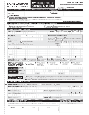 Application Form DSP BLACKROCK My Target Value Saving Account