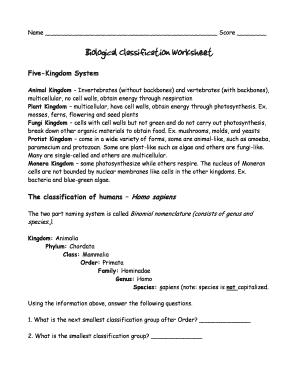 Fillable Online Biological Classification Worksheet Fax