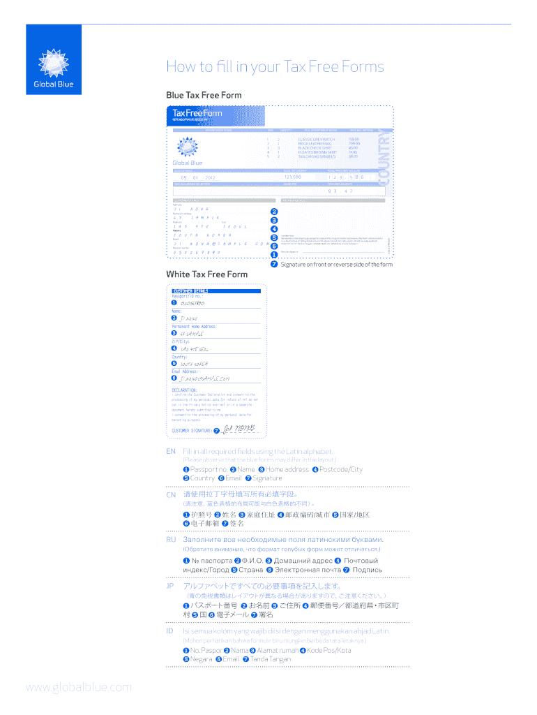 tax free form number  Global Blue Tax Free Form Pdf - Fill Online, Printable ...