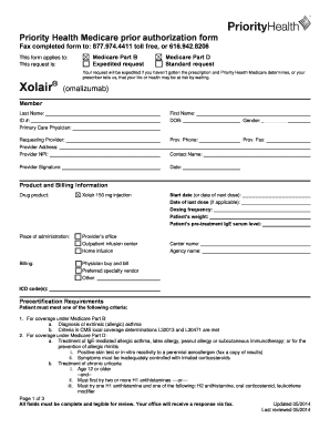 Fillable Online Xolair Prior Authorization Form. Prior ...