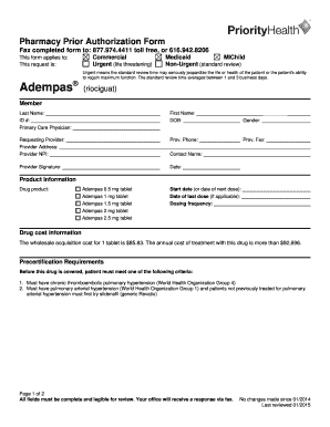 Adempas Prior Authorization Form. Adempas Prior Authorization Form For  Commercial, Medicaid And MIChild Plans