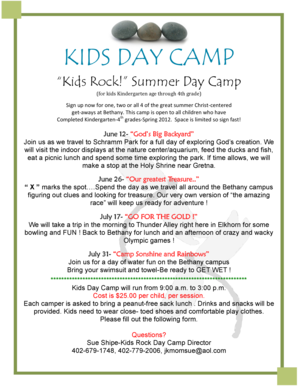 KIDS DAY CAMP - Bethany Lutheran Church - bethanyelkhorn