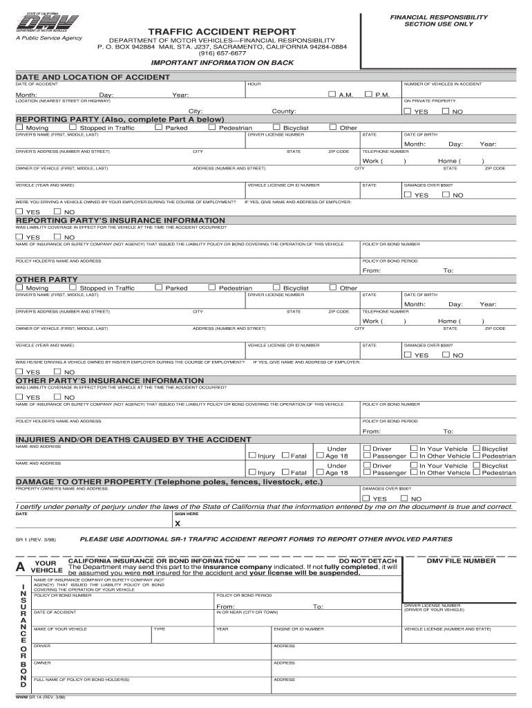 Fillable Online Traffic Accident Report SR1  DMV Form Fax