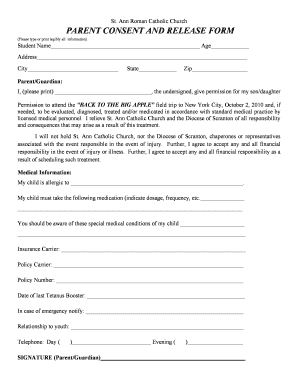 Field Trip Permission Slip Pdf Forms And Templates Fillable
